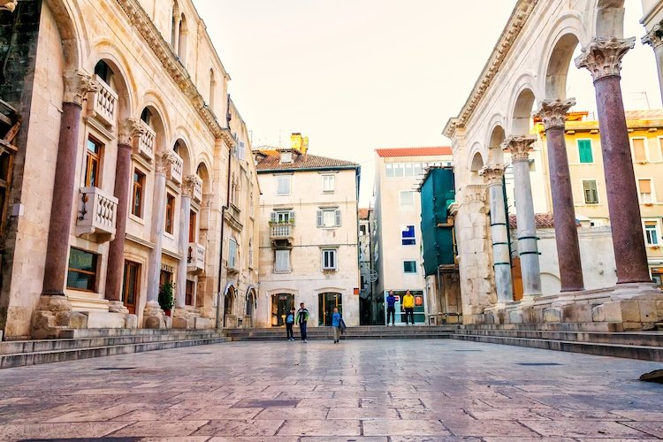 Downtown split in front of Diocletian's place, Croatia