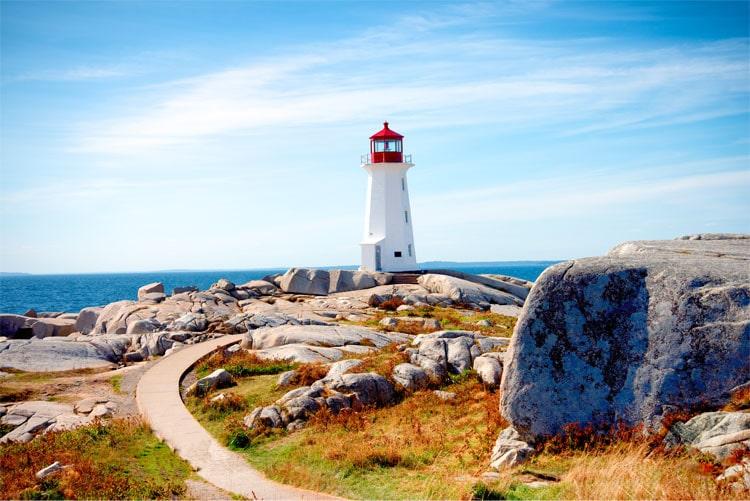 lighthouse on a rocky landscape