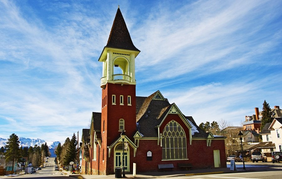 View of an old church in Leadville Town