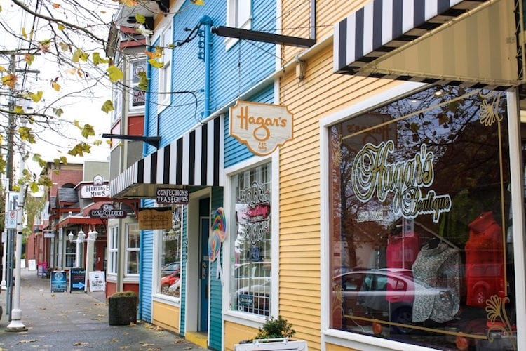 Colorful shops in downtown Nanaimo on Vancouver Island