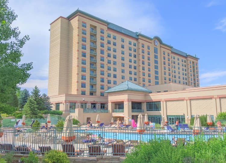 View of pool in front of the Omni Interlocken Hotel and Resort