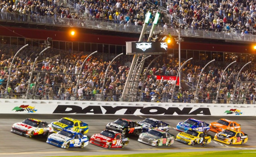 Race cars on the track at the Daytona 500
