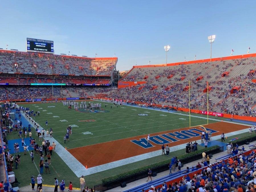 View of the stadium of the University of Florida football team