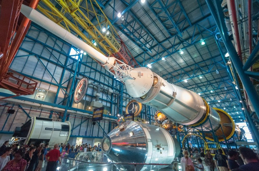 View of Saturn 5 rocket at the Kennedy Space Center near Orlando Florida