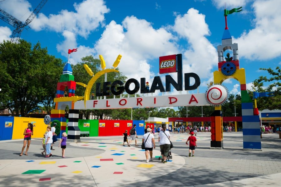 People at the entrance to Legoland Florida