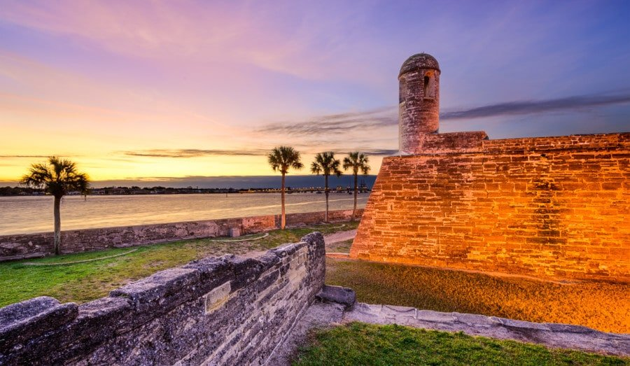 View of the Castillo de San Marcos at sunset in St. Augustine, Florida