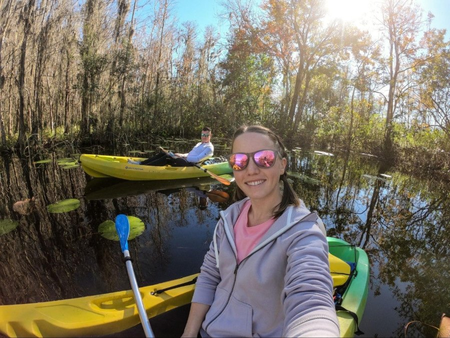 The author in a kayak in Weeki Wachee Springs State Park, one of the best day trips from Orlando