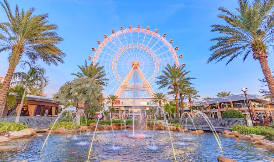 View of The Wheel in Orlando with water fountain in foreground