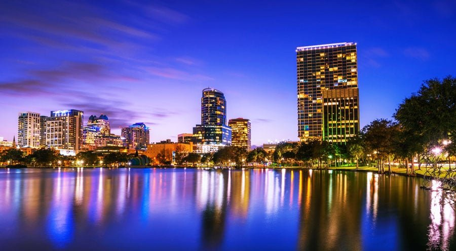 View of the skyline at night and the Lake Eola in Orlando