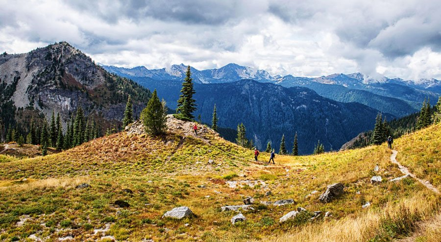 View of a family hiking on Pacific Crest Trail
