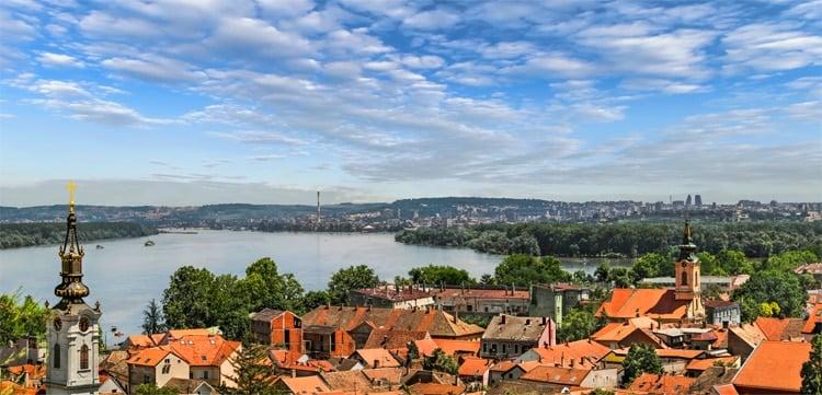 Panoramic View from Gardos Lookout in Zemun on River Danube Town of Zemun and Belgrade Serbia