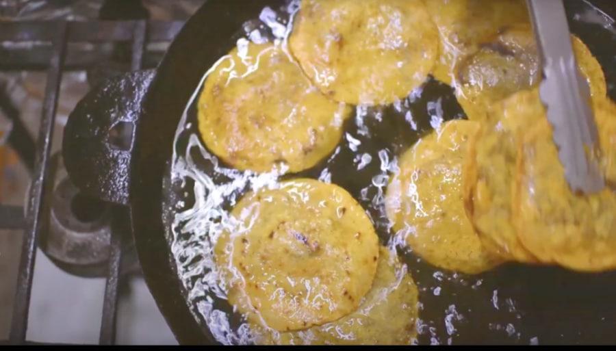 Panuchos being fried