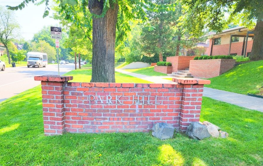 View of the sign at the entrance to the Park Hill neighborhood of Denver