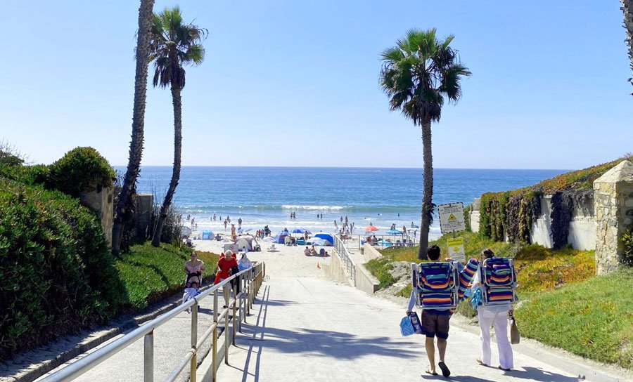 View of people going in and going out to a park in San Diego