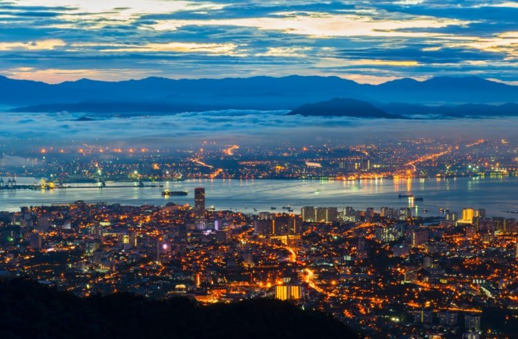 View of Georgetown from Penang Hill Malaysia