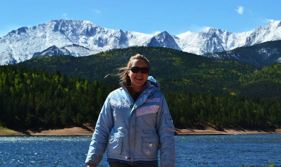 View of author and the Pikes Peak on the background