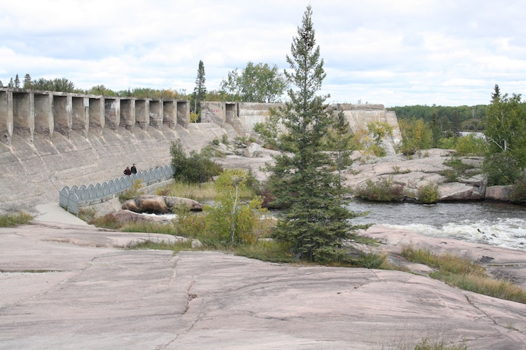Water rushes through the Pinawa Dam in Manitoba, Canada