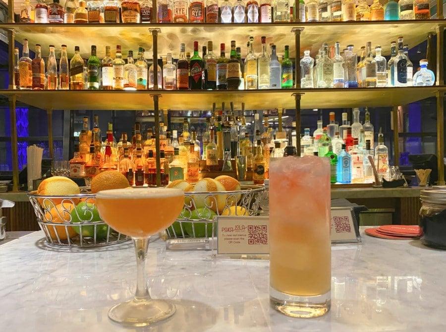 Two cocktails at Poka Lola bar in Denver Dairy Block