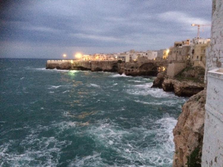 Street lights along the Puglia coast
