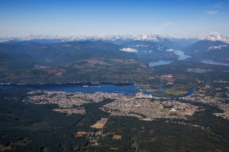 An aerial view of Port Alberni, Vancouver Island