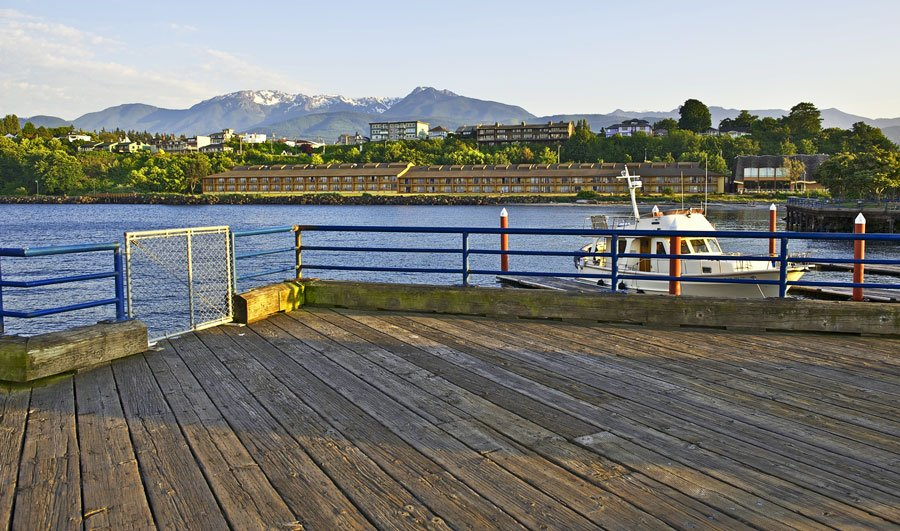 View of port angeles and the olympic mountain from a distance