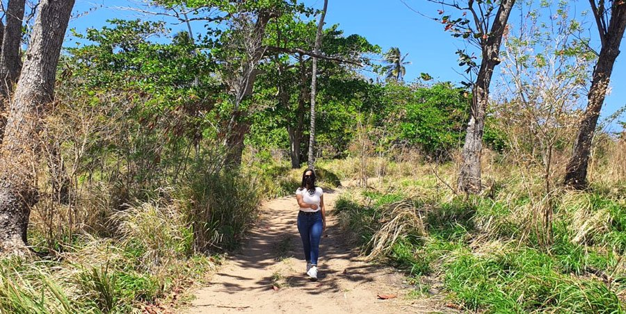 View of the author in the middle of a wilderness in Puerto Rico