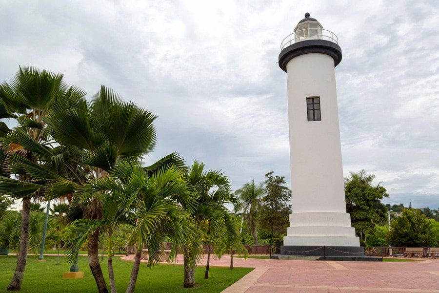 View of the white lighthouse in Lighthouse Park in Rincon