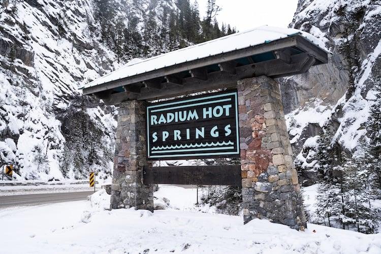 Radium Hot Springs, British Columbia, Canada - Sign welcoming visitors to Radium Hot Springs in the winter