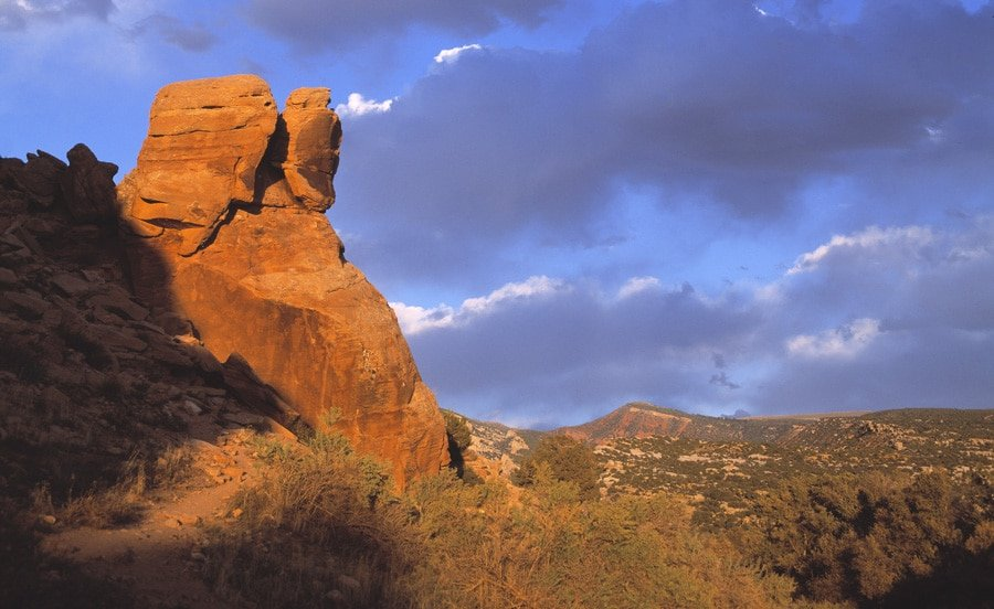 View of a tall red rock in Dinosaur National Monument