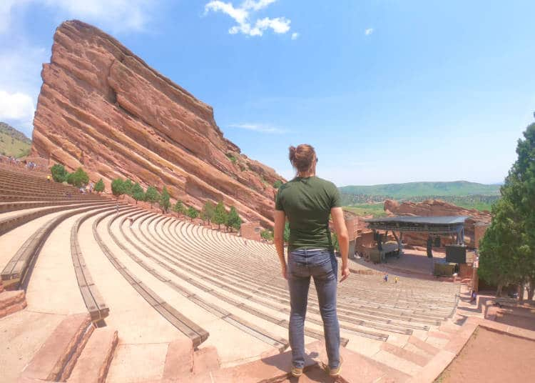 The author looking out over Red Rocks amphitheater, one of the top things to do in Denver