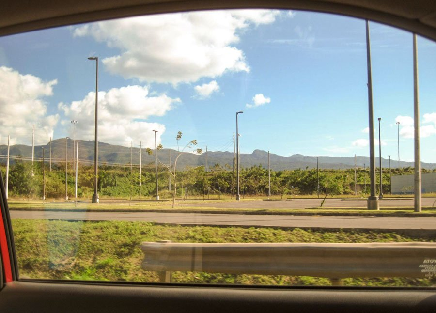 View of the author from her car on her way to El Yunque
