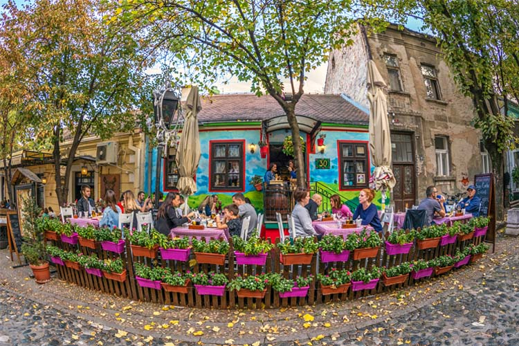 Restaurant on the Old Street Skadarlija in Belgrade Serbia