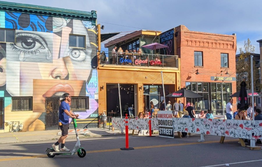 View of streets of the River North Art District in Denver, with street art