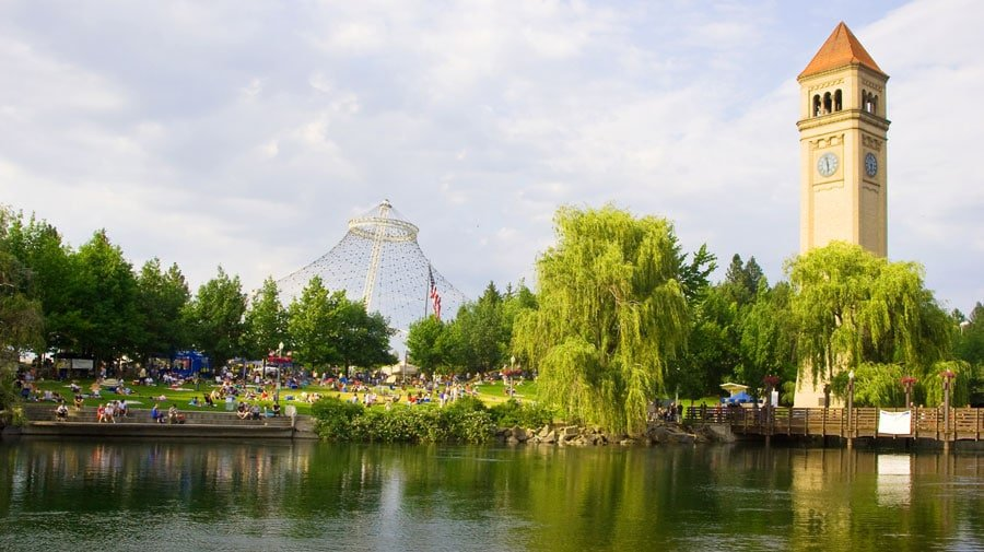 View of the riverfront park and spokane river