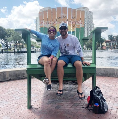 View of the author and his wife in Riverwalk