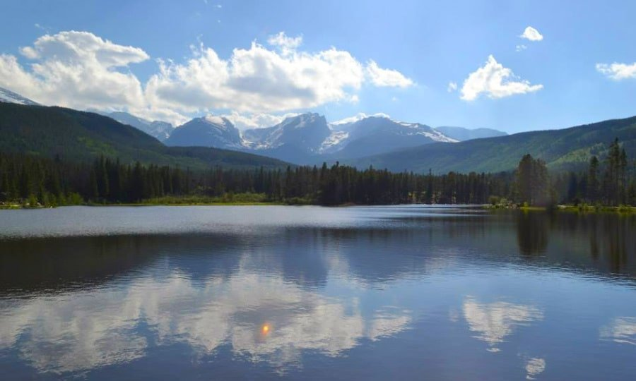 View of mountains reflecting against a lake in Rocky Mountain National Park, Colorado