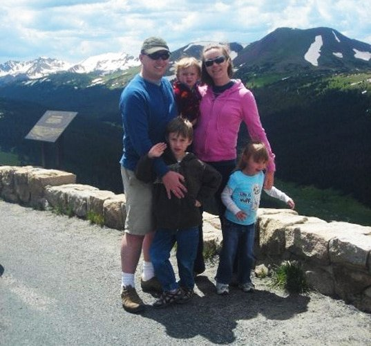 View of the author and her family at the top of Trail Ridge Road