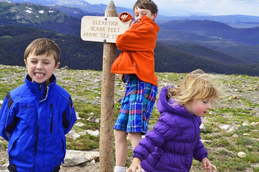View of the author's kids from Rocky Mountain National Park