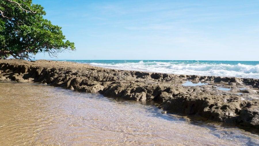 View of a rocky shoreline in Puerto Rico