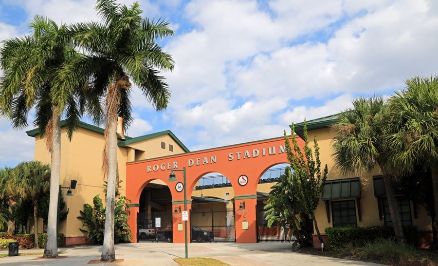 View of the Roger Dean Chevrolet Stadium entrance
