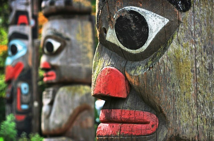 Painted totem poles in the Royal British Columbia Museum on Vancouver Island