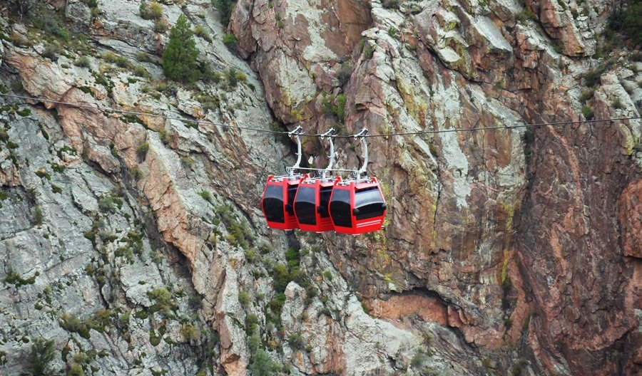 View of aerial gondola ride in Colorado