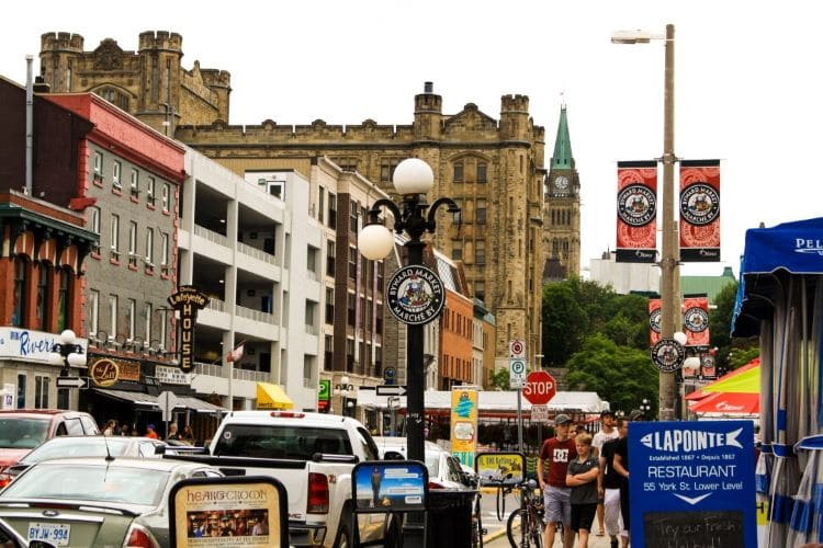 Downtown Ottawa, Canada -- Byward market with various buildings and traffic