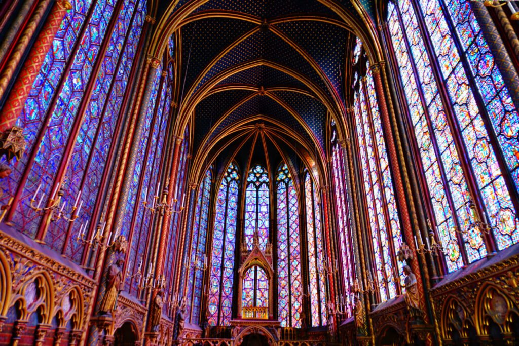 Interior of Sainte-Chapelle Chapel in Paris