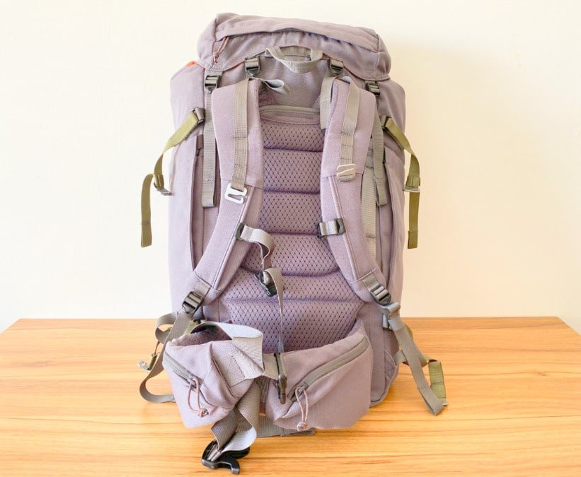 View of the back of the Salkan Mainpack travel backpack