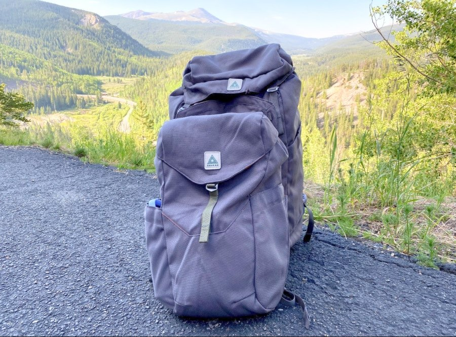 Salkan Mainpack and Daypack together against the mountains