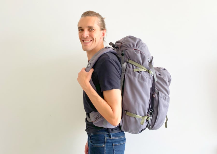 View of the author with two Salkan backpack
