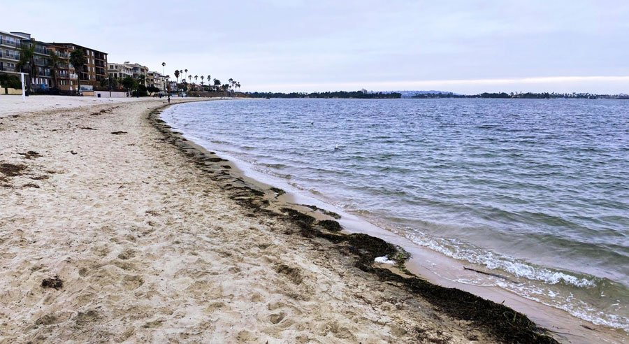 View of an empty beach in San Diego