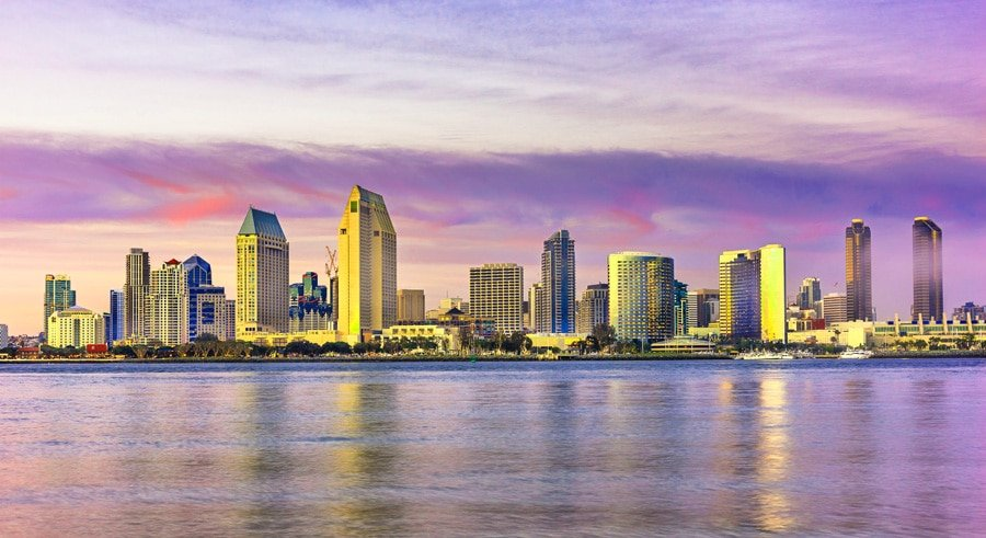 Scenic View of San Diego skyline and tall buildings around the area