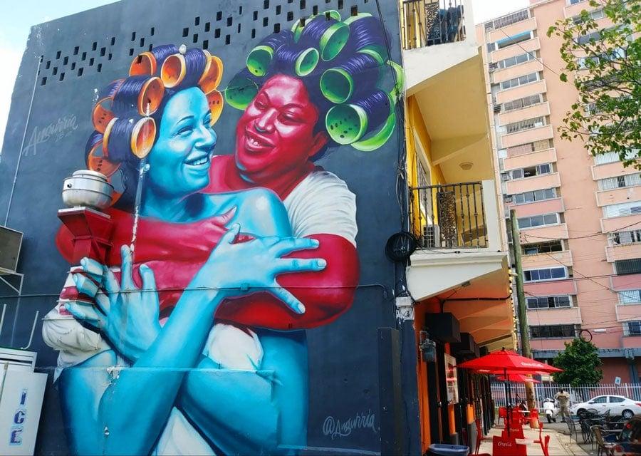 View of a huge colorful wall art in Santurce